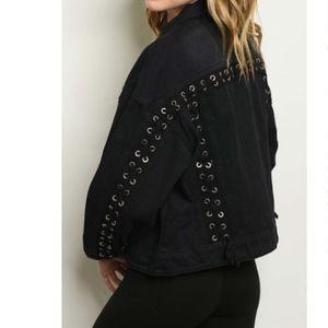 Jagger Black Lace Up Back Denim Jean Biker Jacket